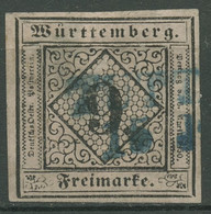 Württemberg 1851 Ziffer In Raute 9 Kreuzer 4 A I Gestempelt, Mängel Loch - Wuerttemberg