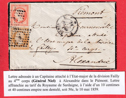 N°13 16 PARIS BUREAU E ALEXANDRIE ALESSANDRIA ITALIE ITALIA POUR UN CAPITAINE DIVISION FAILLY 4EME CORPS 1859 - Marques D'armée (avant 1900)