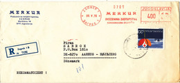 Yugoslavia Registered Cover With Meter Cancel And A Stamp Sent To Denmark Zagreb 6-5-1970 - Covers & Documents