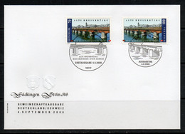 JOINT ISSUES -  SWITZERLAND & GERMANY - 2008 - OLD RHINE BRIDGE STAMPS FOR BOTH COUNTRIES ON FDC - Gemeinschaftsausgaben