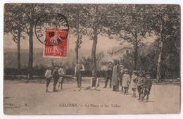 CALUIRE (69) : LA PLACE ET LES VILLAS - JEU DE BOULES ( PETANQUE ) - UN JOUEUR MESURE LE POINT - ECRITE 1908 - 2 SCANS - - Bowls