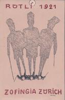Carte Etudiant, Zofingia Zürich, Rütli 1921, Litho, Illustrateur Velma (622) Trou Et Marque D'épingle - Scuole