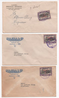 Costa Rica 3 Air Mail Covers Colon Columbus Early 50's #355 - Costa Rica