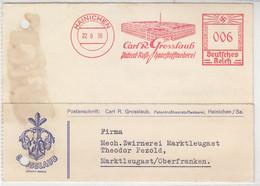 Freistempel Der Roßhaarstoffweberei Aus HANICHEN 22.9.38. Nach Markleugast / Aktenlochung - Covers & Documents