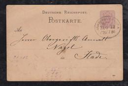 Deutsches Reich 1886 Postkarte Harburg Nach Stade Bahnpost HAMBURG CUXHAVEN Railway Postmark - Cartas
