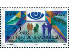 Ref. 113789 * MNH * - MEXICO. 2001. 25 YEARS OF THE INSTITUTE OF OPHTHALMOLOGY . 25 AÑOS DEL INSTITUTO DE OFTALMOLOGIA - Medicine