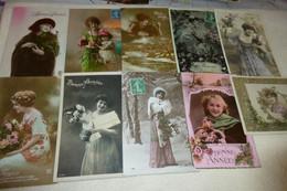 """LOT DE 10 CARTES FANTAISIE  """"BONNE ANNEE"""" .....BELLES FEMMES - 5 - 99 Cartoline"""