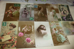 """LOT DE 10 CARTES FANTAISIE  """"JEUNES FEMMES"""" - 5 - 99 Cartoline"""