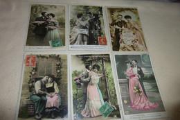 """LOT DE 6 CARTES FANTAISIE  """"BEAUX COUPLES"""" - 5 - 99 Cartoline"""