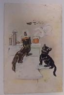 Illustrateur: Bouret Germaine - Chats/Chat - Chat Noir Sur Le Toit - Circulée: 1926 - 2 Scans - Bouret, Germaine