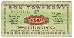 (Billets). Pologne. Communist Poland. Foreing Exchange Certificate. Bon Towarowy PKO 20 C 1969 FN 2406460 - Polonia