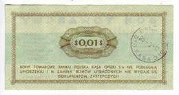 (Billets). Pologne. Communist Poland. Foreing Exchange Certificate. Bon Towarowy PKO 1 C 1969 GL 2890291 - Polonia