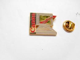 Superbe Pin's Pins En Zamac , Informatique , Canon , Télématique , Signé Decat - Informatica