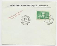 BERLIOZ 40C SURTAXE LETTRE NON VOYAGEE EXPO PHILATELIQUE 19.9.37 COLMAR - Gedenkstempels