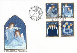 Guardian Angels Music Christmas Latvia Latvija Lettland Mint FDC 1994  - Mi-Nr. 382/85 - Lettonie