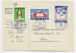 VIGNETTES MILITAIRES SUISSE HELVETIA CARTE POSTALE MILITAIRE  FELPOST 7 FLIEGER KP 9 1940 POUR BERN - Labels