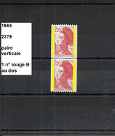 Variété Paire De 1985 Neuf** Y&T N° 2379+b - Varieties: 1980-89 Mint/hinged