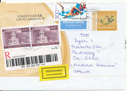 Hungary Registered Postal Stationery Cover Uprated And Sent To Denmark 24-5-2011 - Entiers Postaux