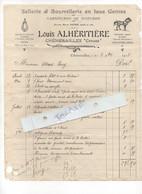 FACTURE 1913  SELLERIE ET BOURRELLERIE -    LOUIS ALHERITIERE  23  CHENERAILLES - 1900 – 1949