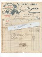 FACTURE 1914   VINS EN GROS  -    S. PAGEIX    23  CHENERAILLES   ADRESSEE A  ALHERITIERE BOURRELIER - 1900 – 1949