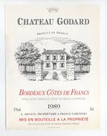 - ETIQUETTE CHATEAU GODARD 1989 - BORDEAUX COTES DE FRANCS - - Bordeaux