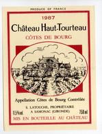- ETIQUETTE Château Haut-Tourteau 1987 - COTES DE BOURG - S. LATOUCHE, SAMONAC (Gironde) - - Bordeaux