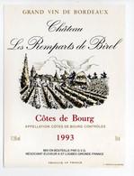 - ETIQUETTE Château Les Remparts De Birol 1993 - COTES DE BOURG - ST-LOUBÈS (Gironde) - - Bordeaux