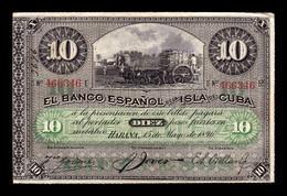 Cuba 10 Pesos 1896 Pick 49c Sin Sobrecarga Plata MBC VF - Cuba