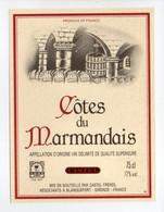 - ETIQUETTE COTES DU MARMANDAIS - CASTEL, BLANQUEFORT (Gironde) - - Bordeaux