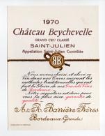 - ETIQUETTE Château Beychevelle 1970 - SAINT-JULIEN - Barrière Frères, Bordeaux - - Bordeaux