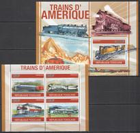 TG1254 2010 TOGO TRANSPORT AMERICAN TRAINS 1KB+1BL MNH - Trains