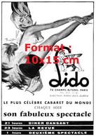 Reproduction Photographie D'une Publicité Ancienne Lido Le Plus Célèbre Cabaret Du Monde Paris De 1957 - Riproduzioni