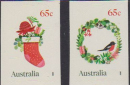 AUSTRALIA, 2020, MNH, CHRISTMAS, BIRDS, FLOWERS, 2v S/A, EMBELLISHED - Christmas