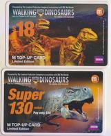 Singapore Phonecards Dinosaur M1 Top-up Card Used Walking With Dinosaurs 2 Cards - Singapore