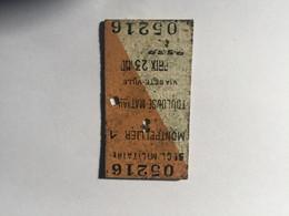 21I - Ticket De Train Pour Militaire Montpellier Toulouse Via Sête Années 40 - Unclassified