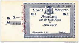 Billet De Nécessité Alsace - 2 Mark Markirch Sainte Marie Aux Mines - Bons & Nécessité