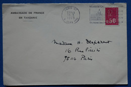 V2 FRANCE BELLE  LETTRE  AMBASSADE FRANCE EN  TANZANIE 1973  PARIS   + ORSAY  AFFRANCH. INTERESSANT - Curiosities: 1970-79 Used