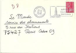 PAS De CALAIS - Dépt N° 62 = ARRAS GARE 1976 = FLAMME Type II = SECAP Illustrée ' VILLE Historique, Cité Moderne ' - Mechanische Stempels (reclame)