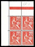 N°112 ** 10c Mouchon Type I, Bloc De Quatre Coin De Feuille. TB Cote 380€ - 1900-02 Mouchon