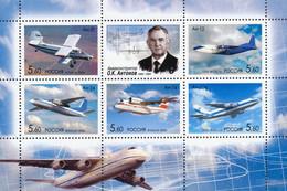 RUSSIA - RUSSIE - RUSSLAND MINI SHEET BLOCK AVIATION HISTORY ANTONOV AIRPLANE - 5 STAMPS SET MNH 2006 - Ongebruikt