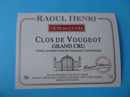 Etiquette Neuve Clos De Vougeot Grand Cru Raoul Henri - Bourgogne