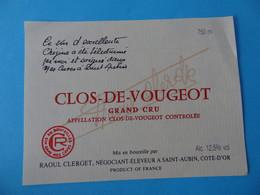 Etiquette Neuve Clos De Vougeot Grand Cru Raoul Clerget - Bourgogne