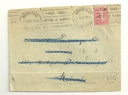 PAS De CALAIS - Dépt N° 62 = ARRAS GARE 1927 = FLAMME KRAG  'POUR PARIS / ET LYON / METTRE N° / ARRONDISSEMENT' - Mechanische Stempels (reclame)