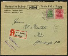 DT.REICH 1921, Nr. 145+150 R-BRIEF, WERKMEISTER-BEZIRKS-VEREIN STPL KIEL-GAARDEN - Covers & Documents
