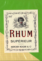 2 Etiquettes De RHUM :  RHUM Superieur 44° Mercier Roger.Rhum + Rio Negro - Rhum