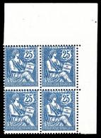 N°127 ** Mouchon, 25c Bleu Foncé En Bloc De Quatre Cdf. TTB (certificat) Cote 2200€ - 1900-02 Mouchon