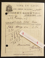 Usson En Forez - Robert COURTIAL Vins En Gros - Facture 1937 à Un Hôtel D'Usson (M. Aubert) Bière Limonade Eau Minérale - 1900 – 1949