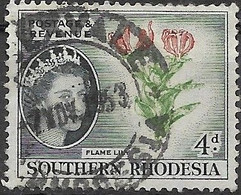 SOUTHERN RHODESIA 1953 Flame Lily - 4d - Red, Green And Blue FU - Rhodesia Del Sud (...-1964)