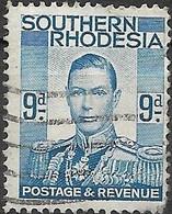 SOUTHERN RHODESIA 1937 King George VI - 9d - Blue FU - Rhodesia Del Sud (...-1964)