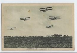 CARTOLINA POSTALE VIAGGIATA - GROTTAGLIE - APPARECCHI IN VOLO - RARA - ANNO 1935 - Manoeuvres